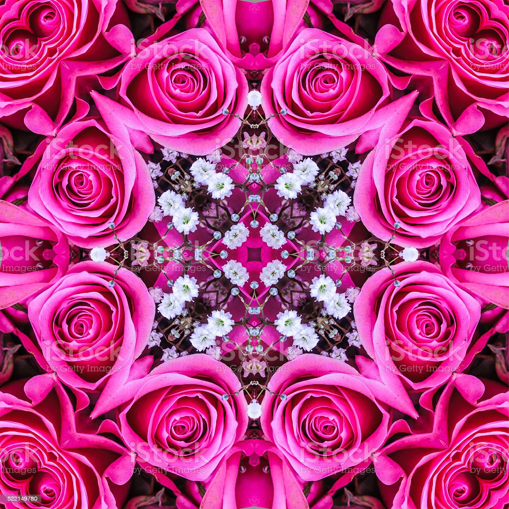 Pink Rose Mandala stock photo
