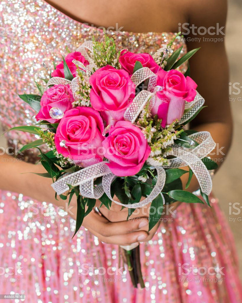Pink rose prom bouquet stock photo