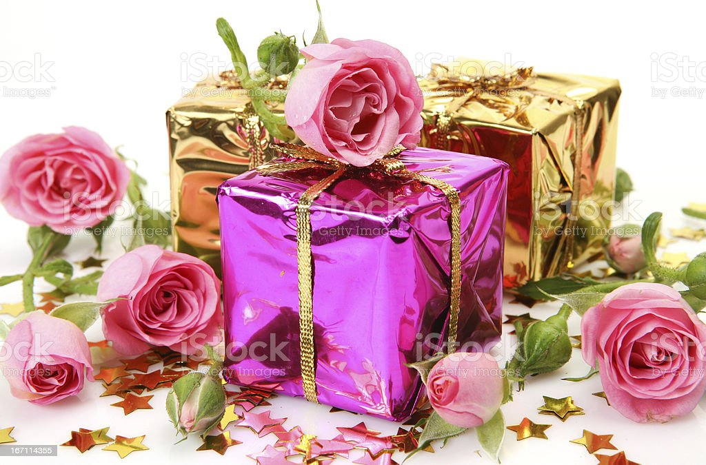 Pink roses and gifts royalty-free stock photo