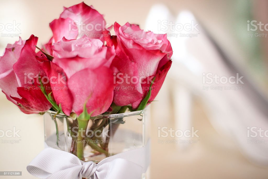 Pink Roses and High Heels stock photo