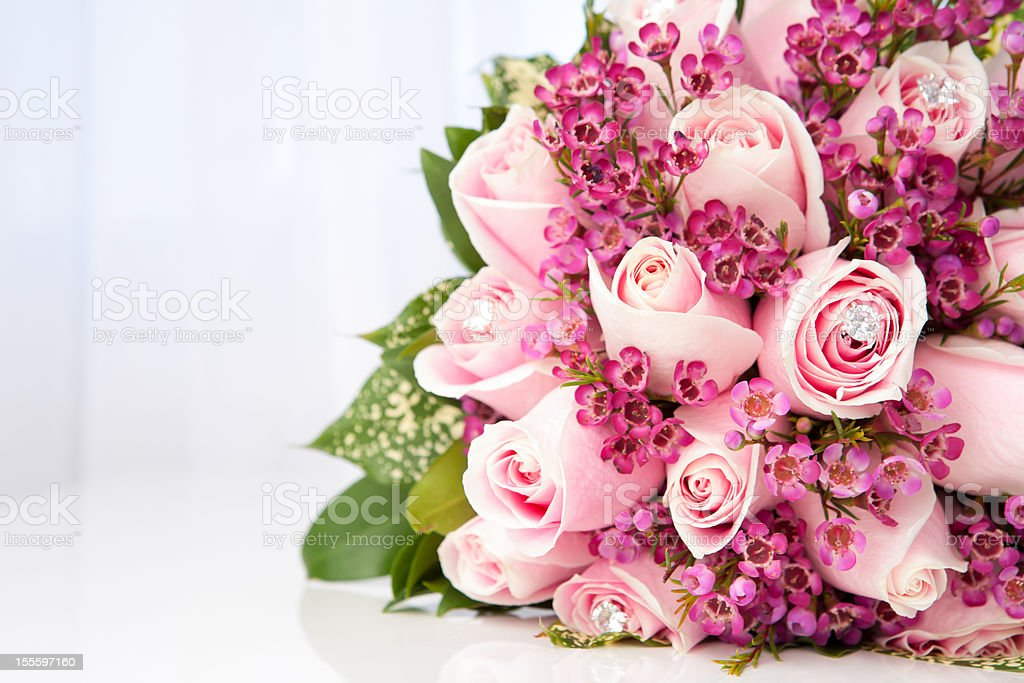Pink roses bridal bouquet royalty-free stock photo
