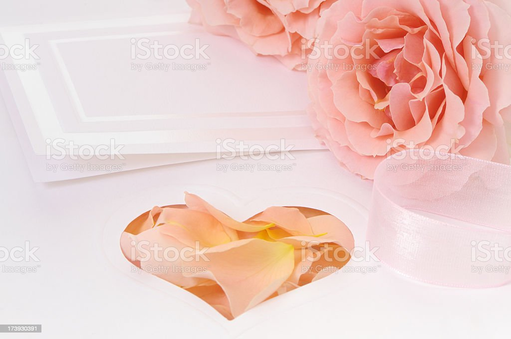 Pink roses on embosed card royalty-free stock photo