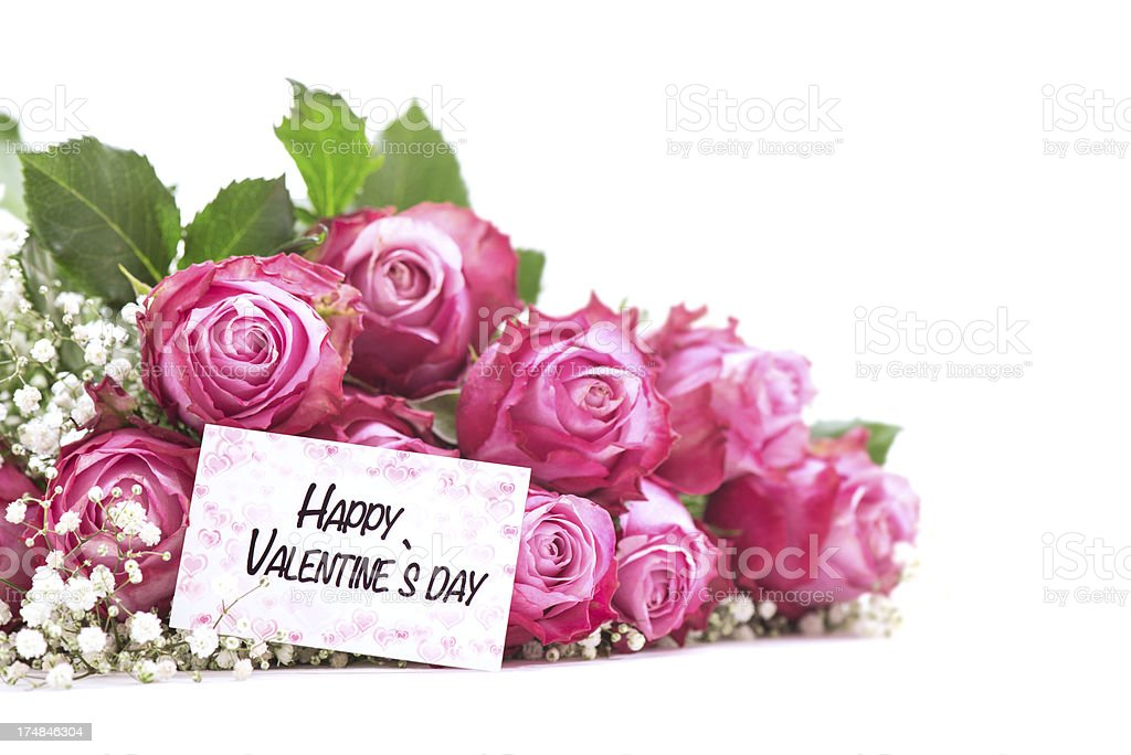 Pink Roses with a valentines day card and copy space royalty-free stock photo
