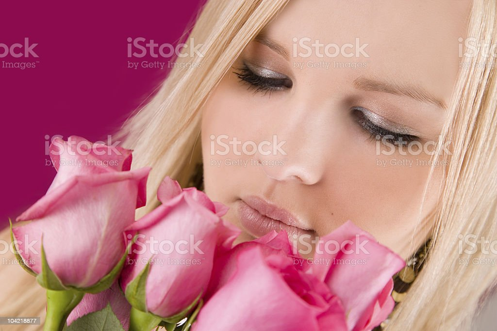 Pink Roses / Woman stock photo