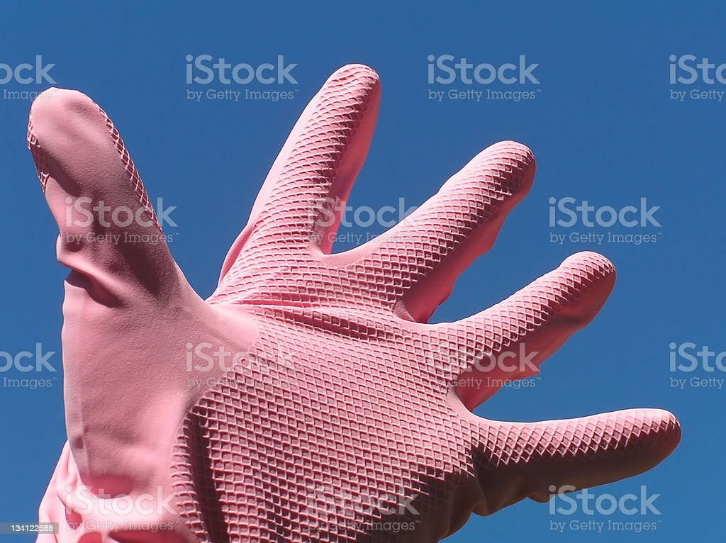 Pink rubber glove royalty-free stock photo