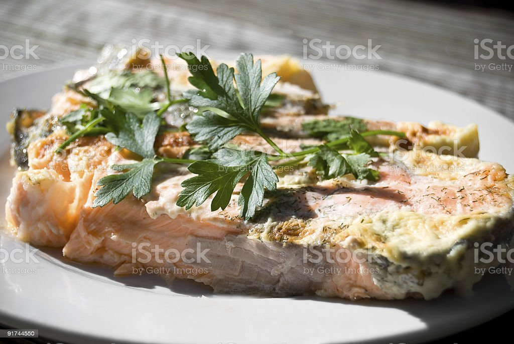 Pink Salmon Fillet on plate royalty-free stock photo