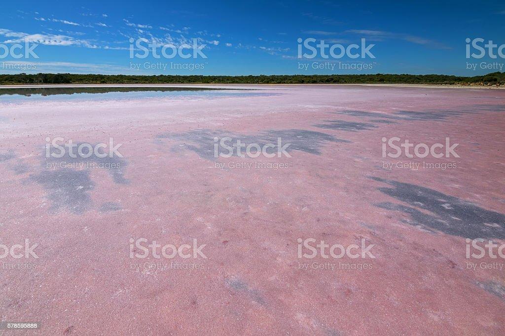 Pink salt lake at Coorong National Park, South Australia stock photo