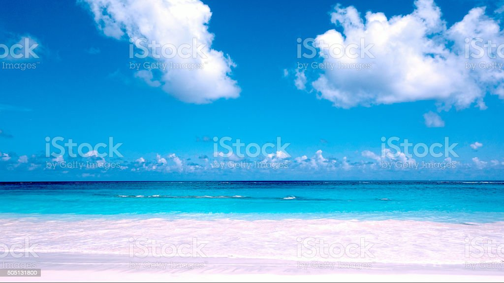 Pink sand at Elbow Beach in Bermuda stock photo