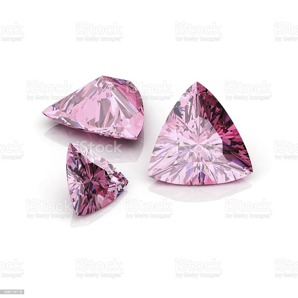 Pink Sapphire Triiliant stock photo