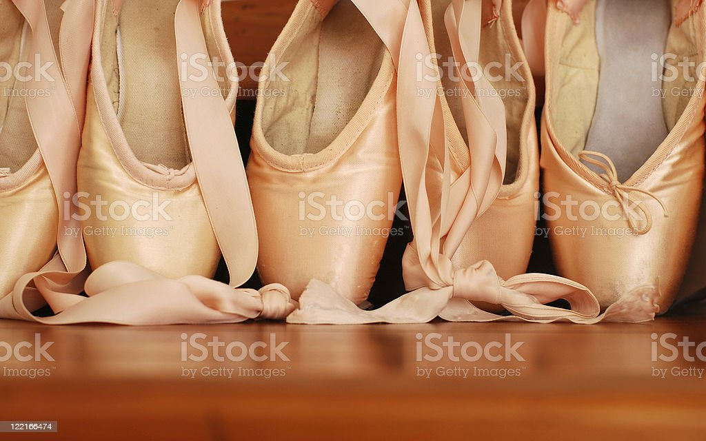 Pink Satin Ballet Pointe Shoes stock photo
