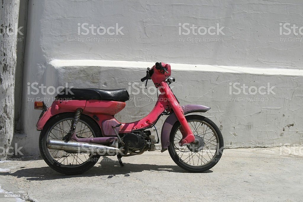 Pink scooter, Greece royalty-free stock photo