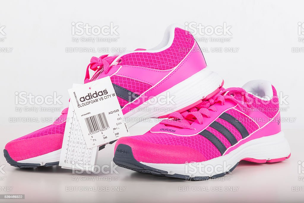 ADIDAS pink shoes for women. stock photo