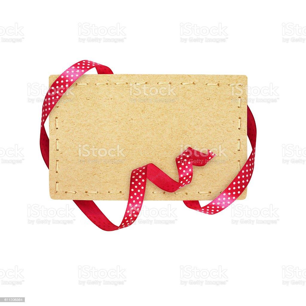 Pink silk polka dot ribbon and a card stock photo