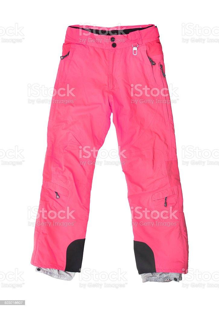 pink ski pants isolated on white stock photo