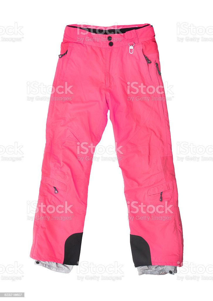 pink ski pants isolated on white stock photo