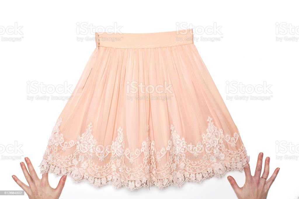 Pink skirt with lace stock photo