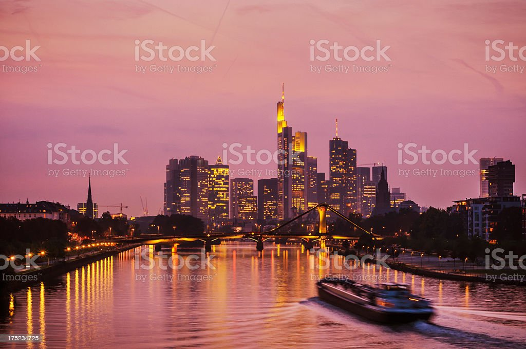 Pink skyline of Frankfurt am Main royalty-free stock photo