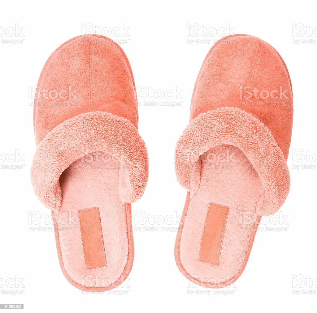 Pink slippers top view stock photo