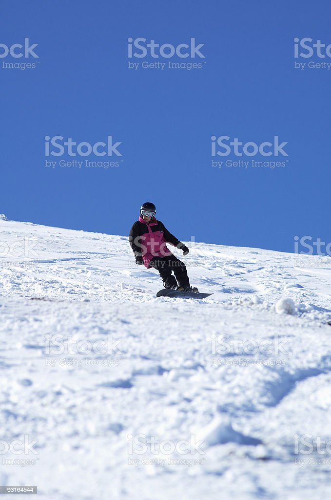 Pink Snowboard girl royalty-free stock photo