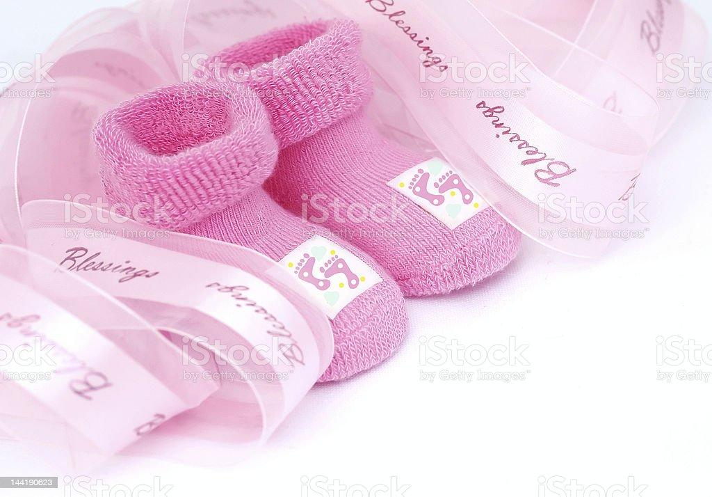 Pink socks for little girl royalty-free stock photo