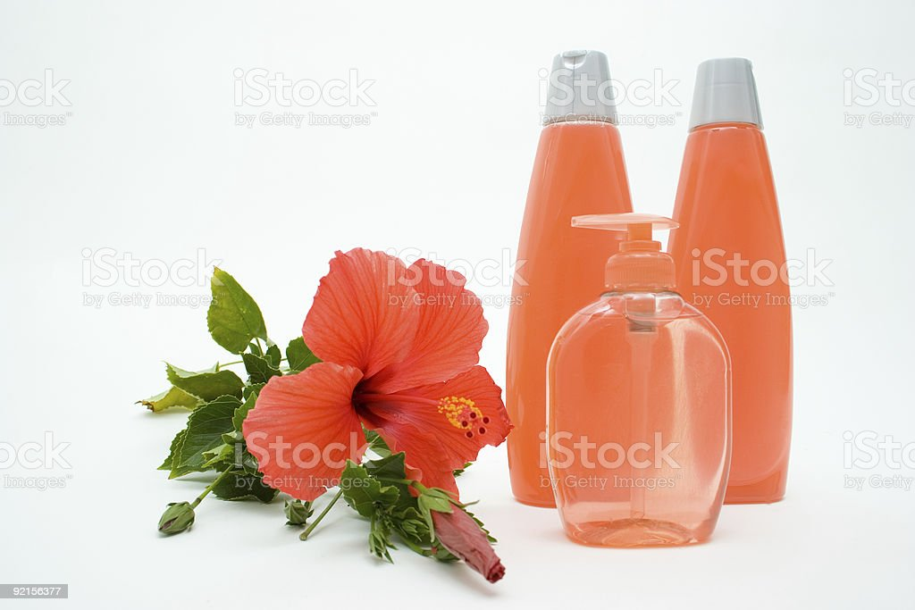 Pink Soft Soap And Shampoo With Flower royalty-free stock photo