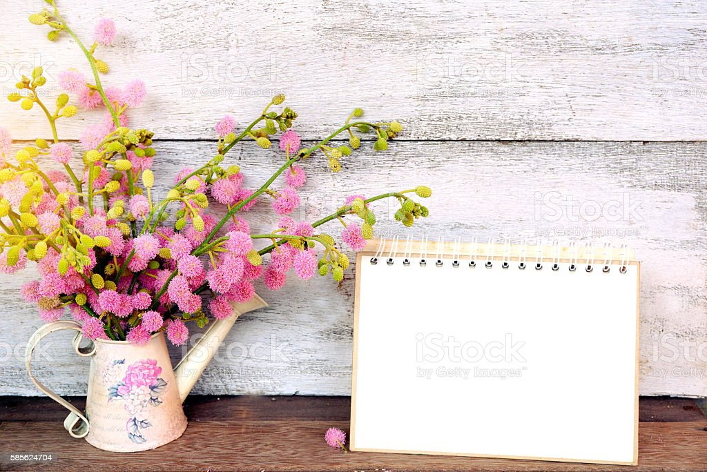 pink spring flower and blank calendar page stock photo