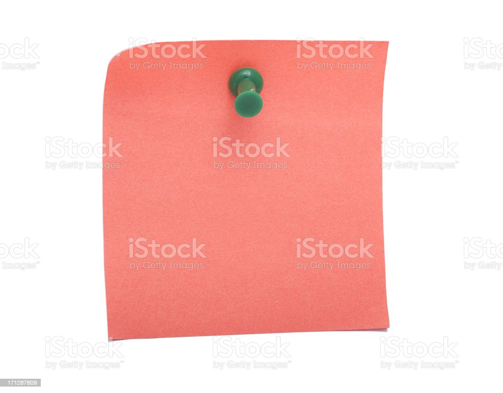 Pink Sticky Note and Push Pin royalty-free stock photo