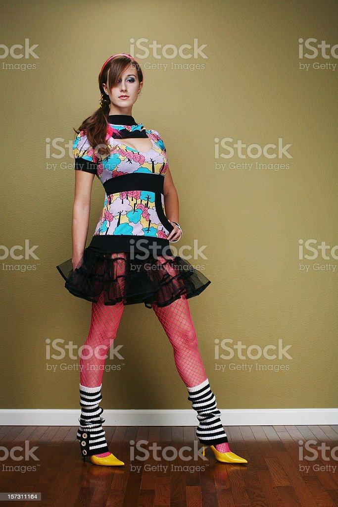 Pink Stocking Short Black Skirt Retro Girl royalty-free stock photo