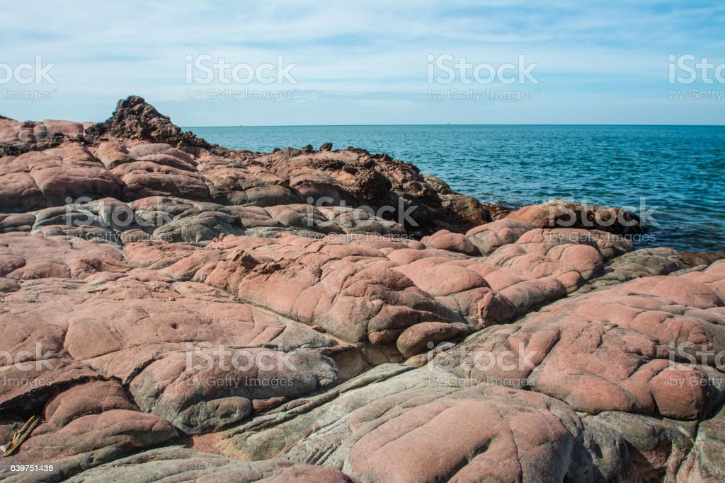 Pink stone beach , Chantaburi in Thailand stock photo
