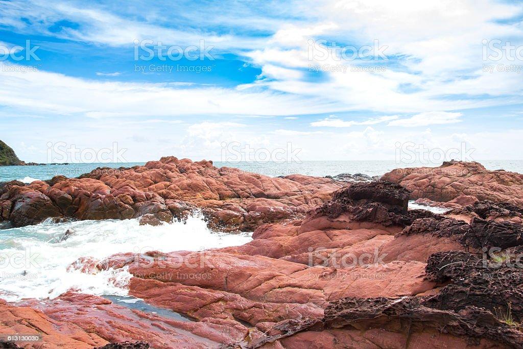 Pink stone (Arkose) near the beach stock photo