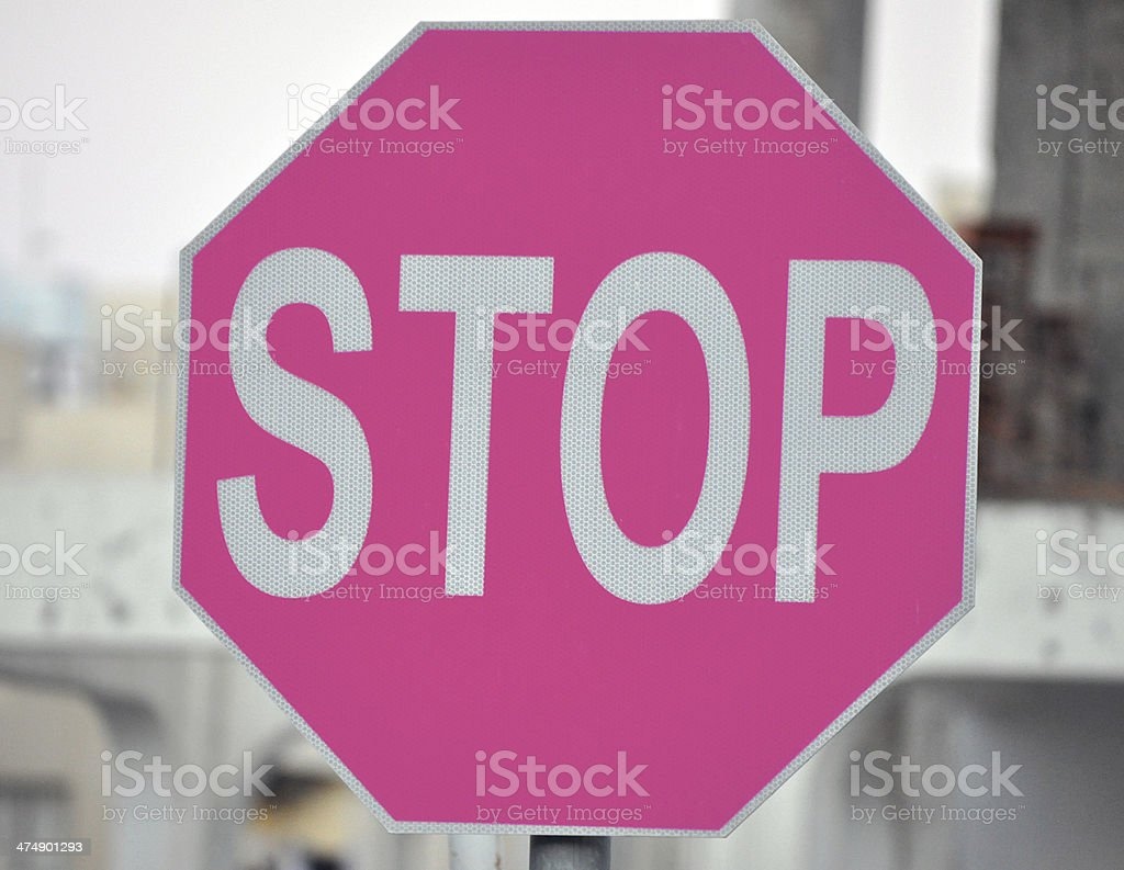 Pink Stop Sign stock photo