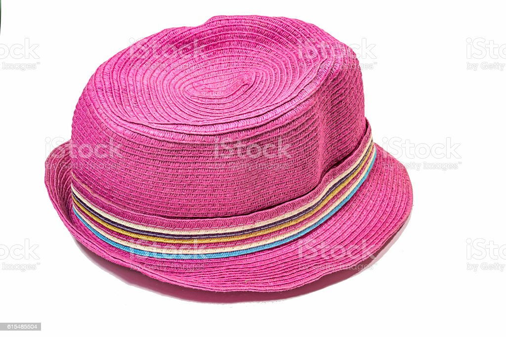 Pink straw hat in isolate background stock photo