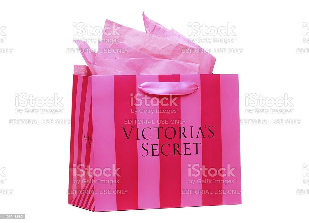 Pink Striped Victoria's Secret Shopping Bag stock photo