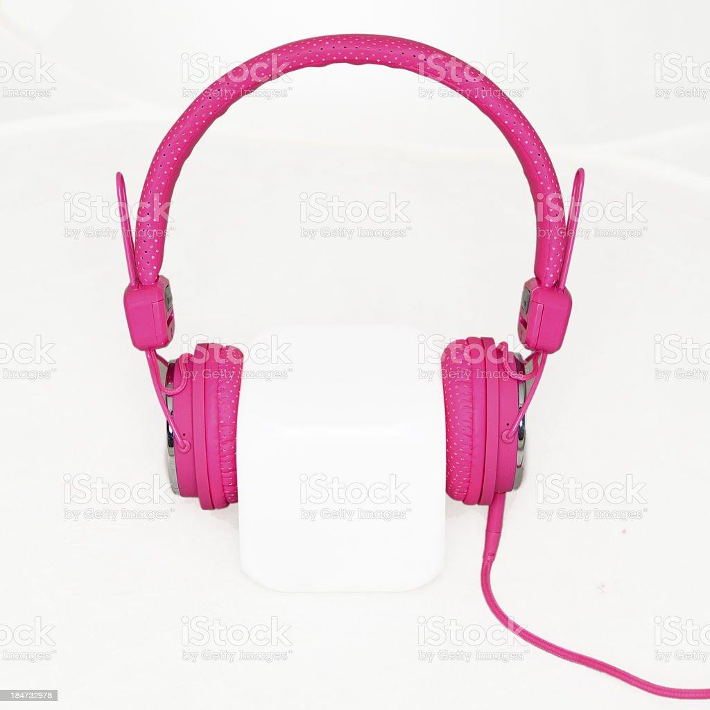 pink stylish headphones royalty-free stock photo