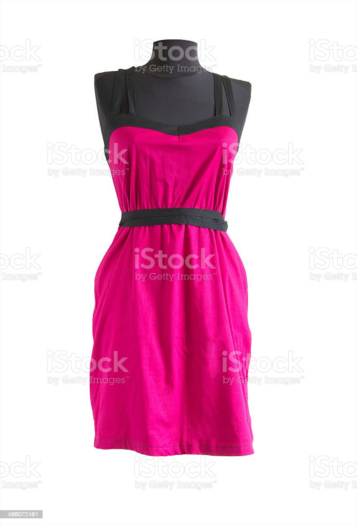 pink sundress with black belt on a mannequin stock photo