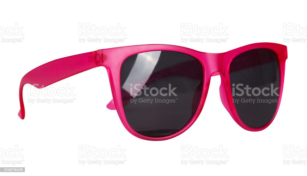 Pink sunglasses isolated on white stock photo