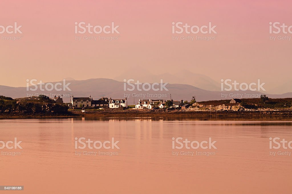 Pink sunrise in the Applecross Peninsula stock photo