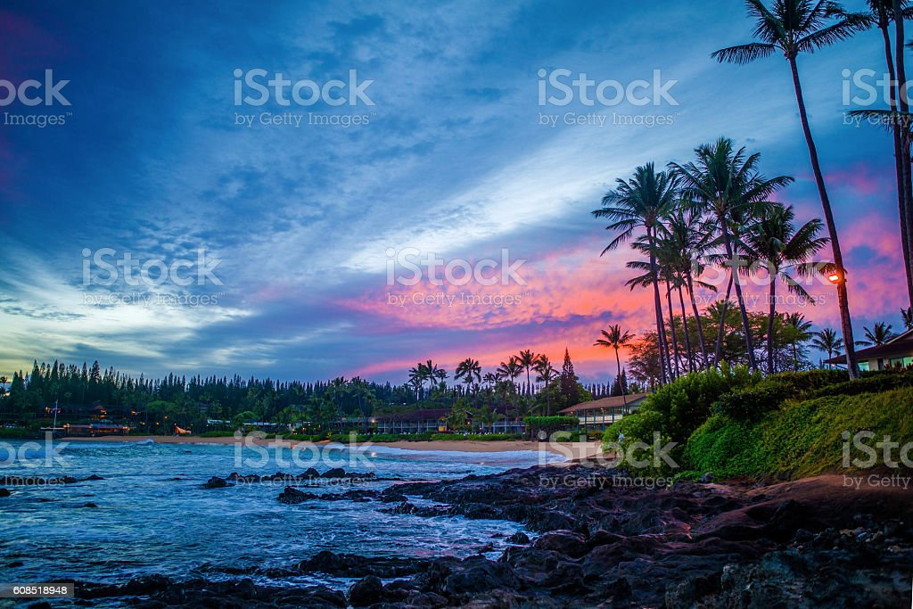 pink sunrise, napili bay, maui, hawaii stock photo