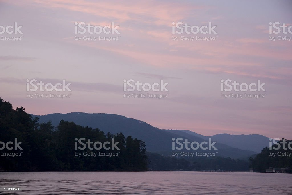 Pink Sunset on the Lake stock photo