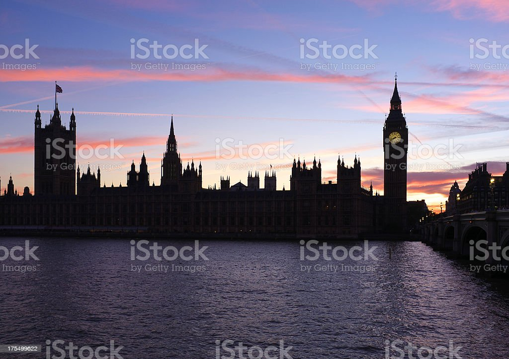 Pink Sunset Over London royalty-free stock photo