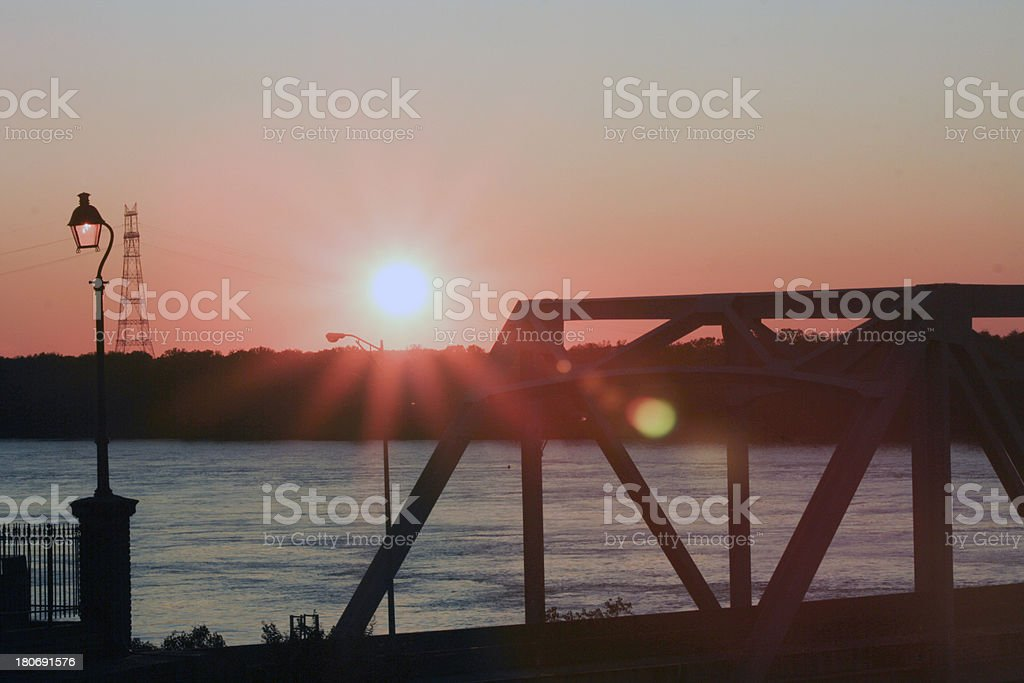 Pink Sunset over Mississippi River Bridge royalty-free stock photo