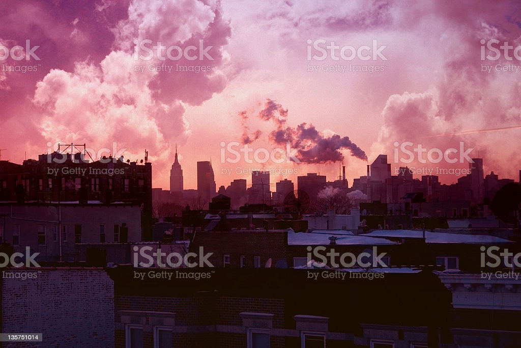 Pink Sunset Over New York City royalty-free stock photo