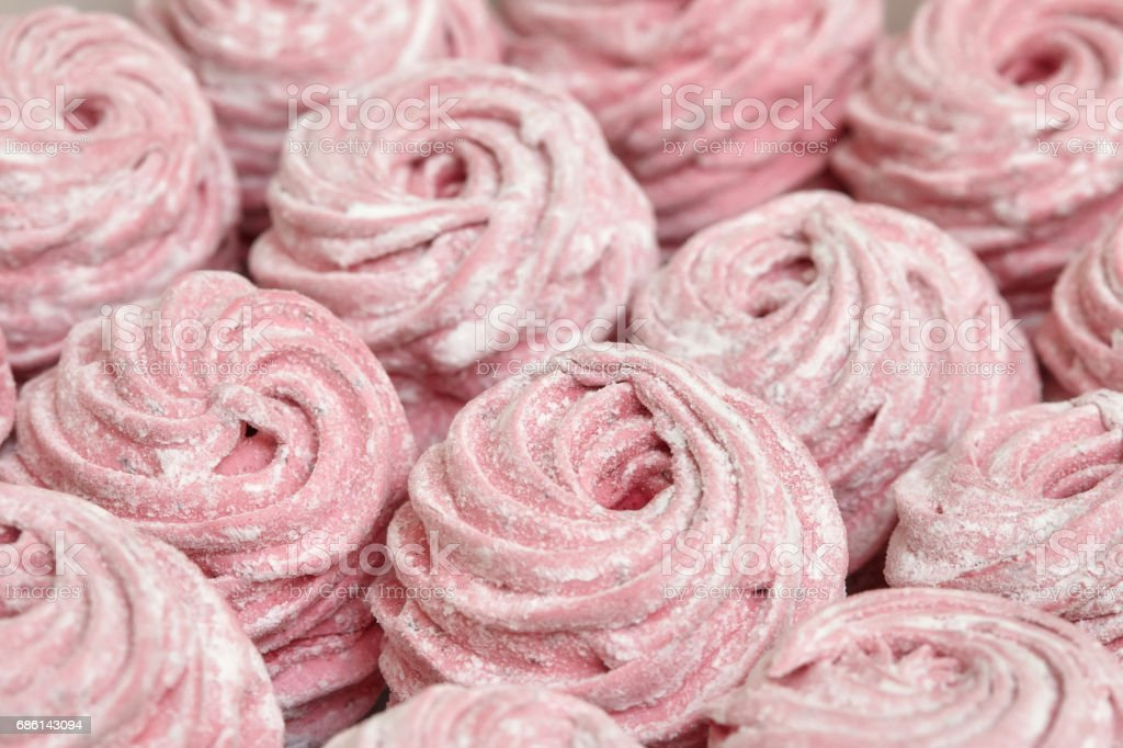 Pink sweet homemade zephyr or marshmallow stock photo