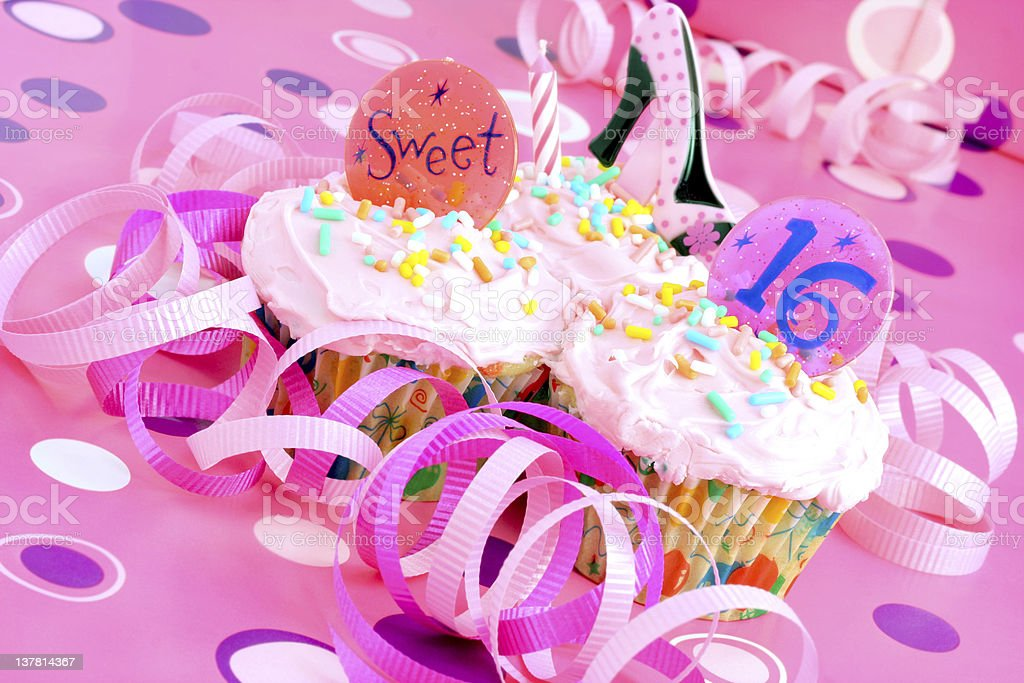 Pink Sweet Sixteen Party Cupcakes stock photo
