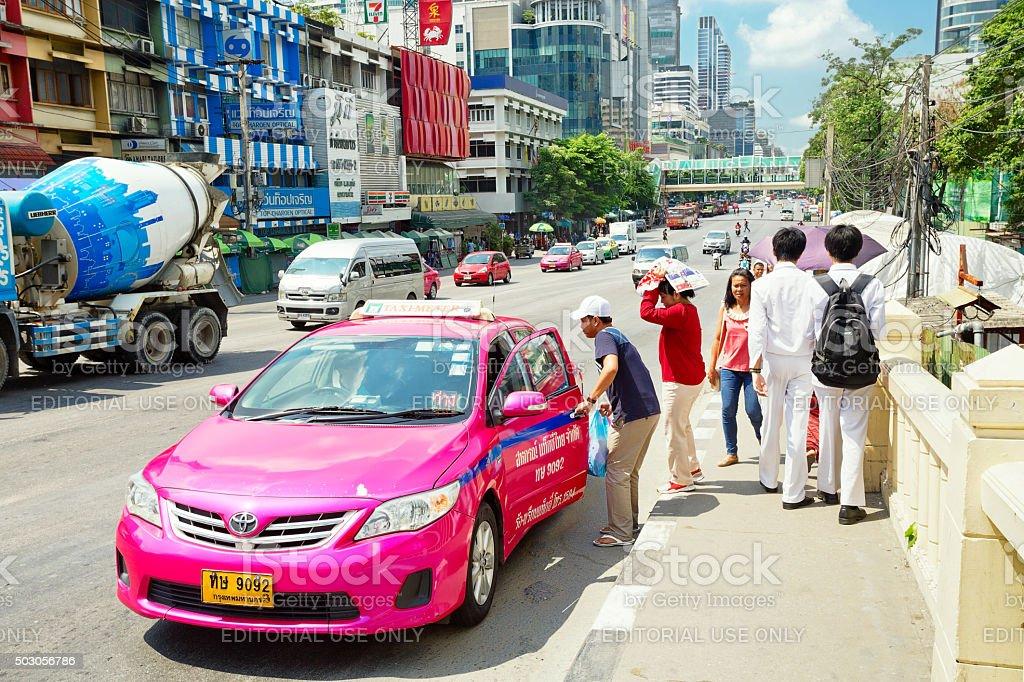 Pink taxi of Bangkok stock photo