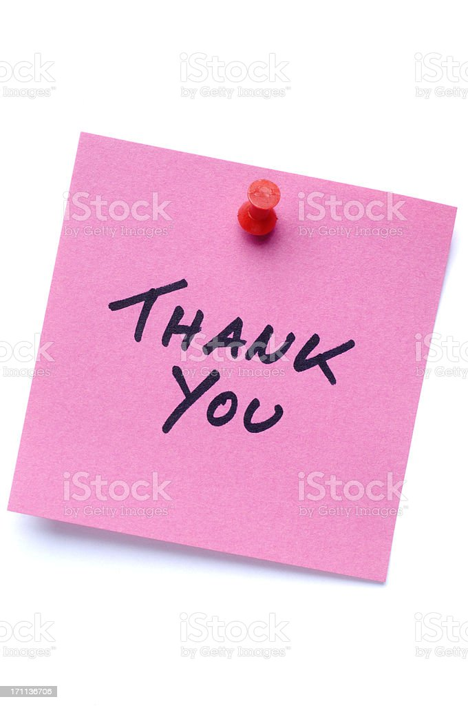 Pink Thank You postit note isolated on white stock photo