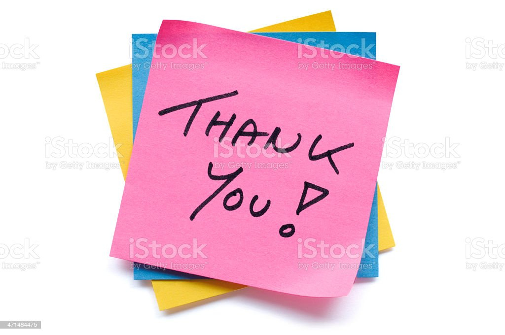 Pink Thank You postit note stock photo