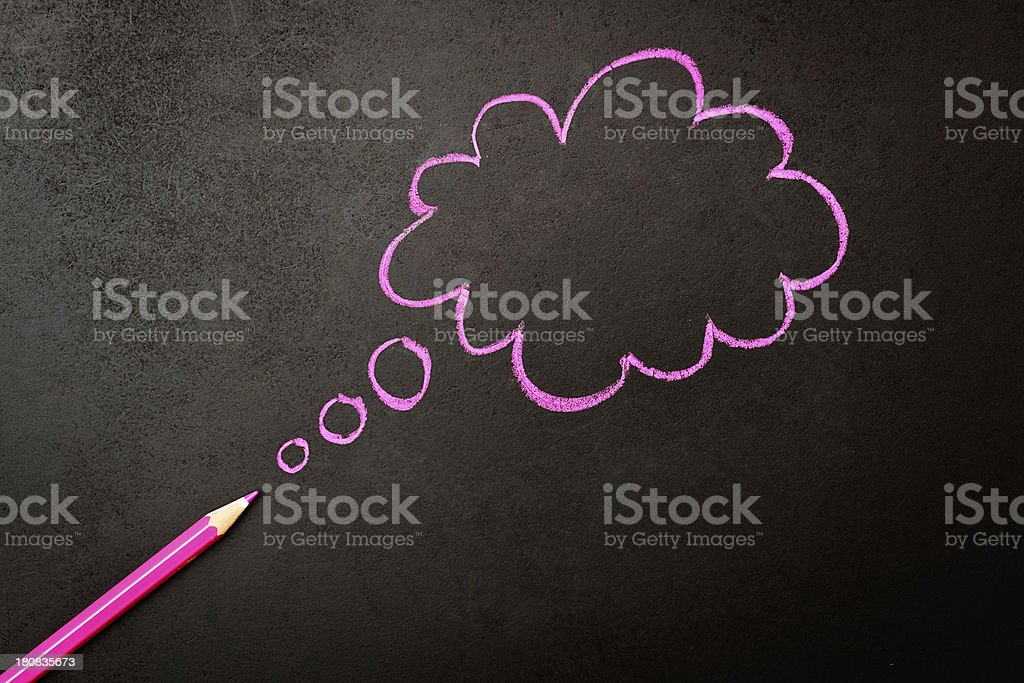 Pink thought bubble sketched on black royalty-free stock photo