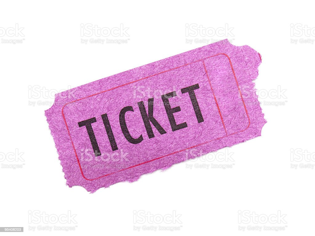 Pink ticket isolated on white background stock photo