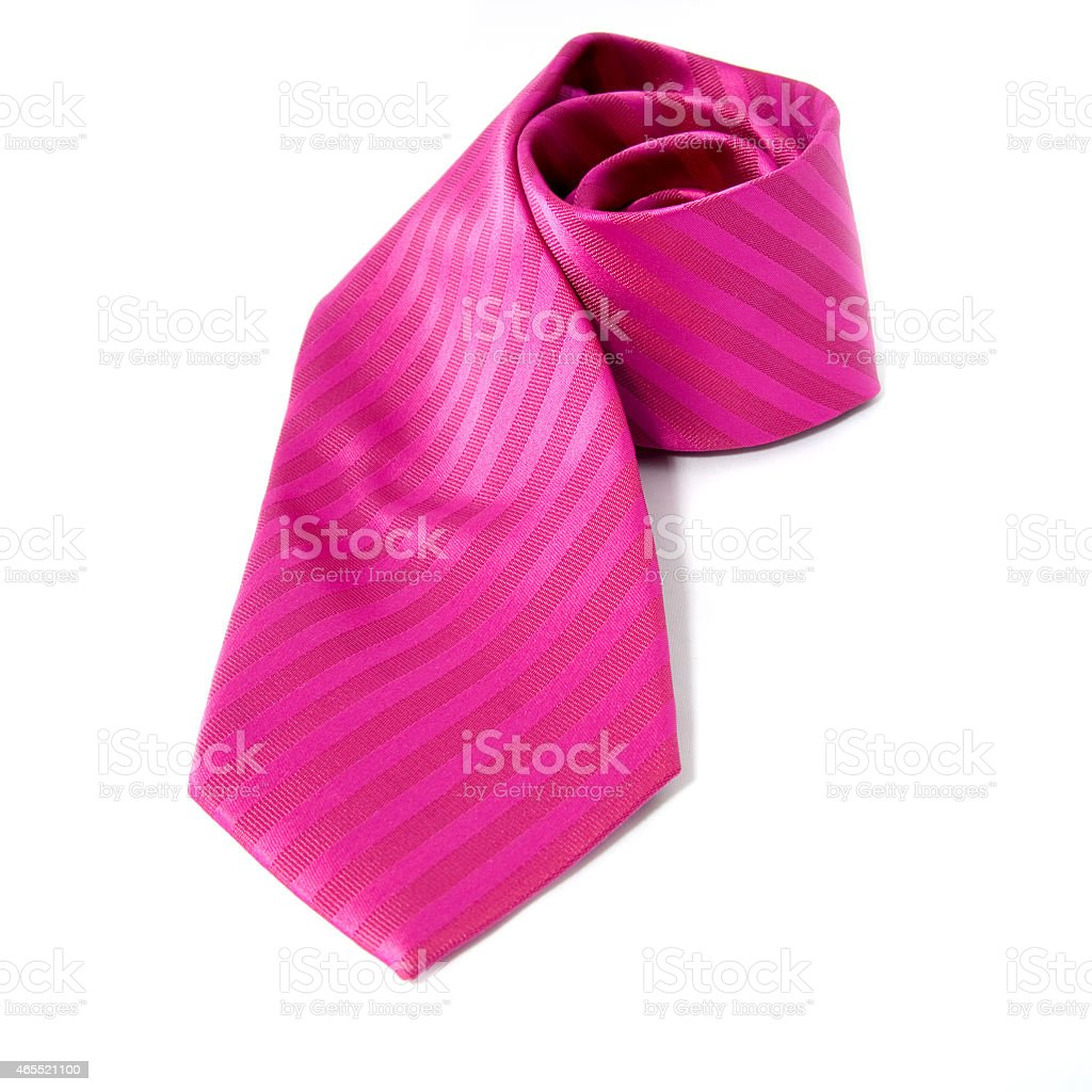 Pink tie over white background stock photo